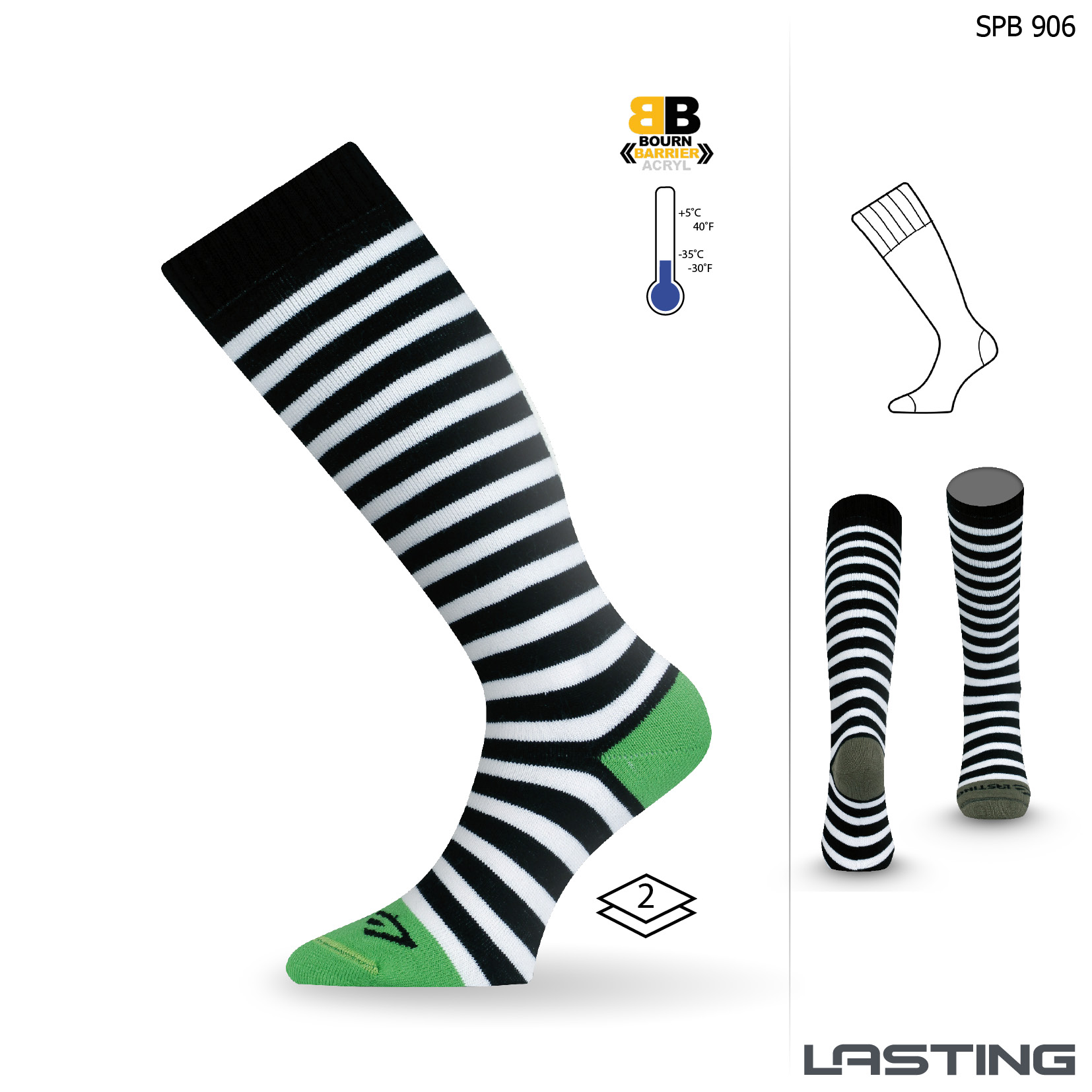 Snowboard ponožky SPB 906 zelená